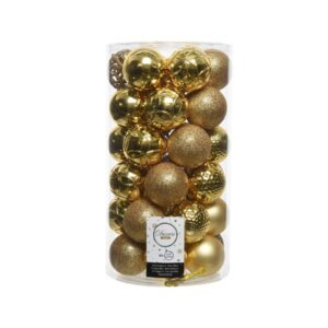 Decoris Shatterproof Bauble Mix in Gold (Pack of 37)
