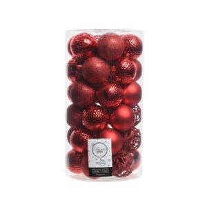Decoris Shatterproof Bauble Mix in Christmas Red (Pack of 37)