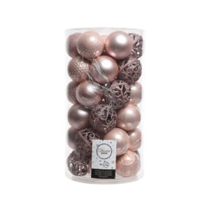 Decoris Shatterproof Bauble Mix in Blush Pink (Pack of 37)