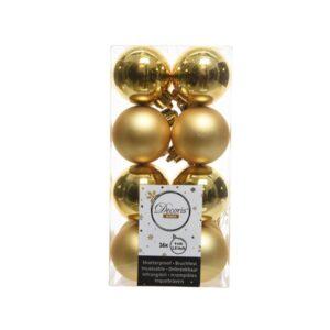 Decoris Shatterproof Baubles in Light Gold (Pack of 16)