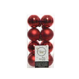 Decoris Shatterproof Baubles in Christmas Red (Pack of 16)