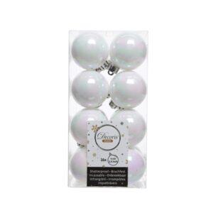 Decoris Shatterproof Baubles in White & Iridescent (Pack of 16)