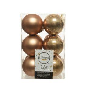 Decoris Shatterproof Baubles in Camel Brown & Gold (Pack of 12)