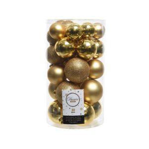 Decoris Shatterproof Baubles in Light Gold (Pack of 30)