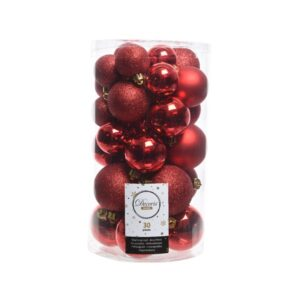 Decoris Shatterproof Baubles in Christmas Red (Pack of 30)