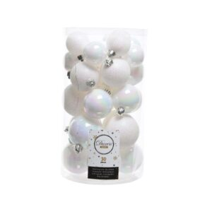 Decoris Shatterproof Baubles in White & Iridescent (Pack of 30)