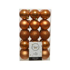 Decoris Shatterproof Baubles in Amber (Pack of 30)