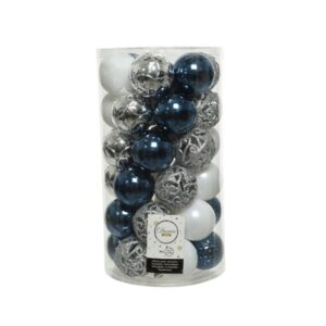 Decoris Shatterproof Baubles in Blue, Silver & White (Pack of 37)