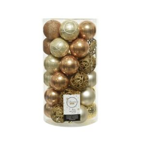 Decoris Shatterproof Baubles in Camel, Gold & Pearl (Pack of 37)