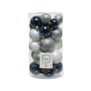 Decoris Pack of 30 Blue, White & Silver Baubles