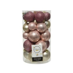 Decoris Shatterproof Baubles in Blush Pink & Pearl (Pack of 30)