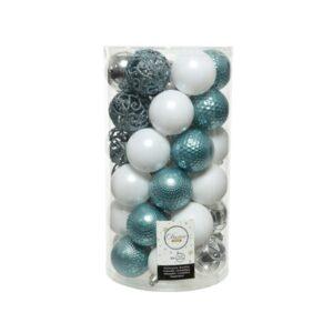Decoris Shatterproof Baubles in Light Blue, Silver & White (Pack of 37)