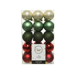 Decoris Shatterproof Baubles in Greed & Red (Pack of 30)
