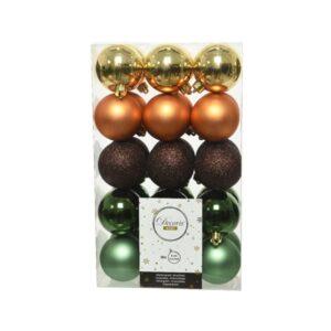 Decoris Shatterproof Baubles in Green, Brown & Gold (Pack of 30)