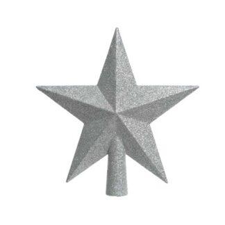 Shatterproof Silver Glitter Tree Top Star