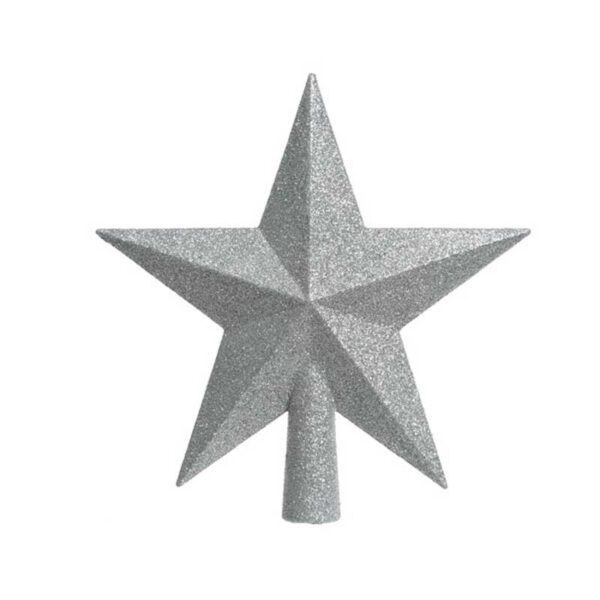 Shatterproof Silver Glitter Tree Top Star