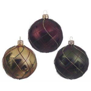 Glass Checked Bauble (3 Colours Available)