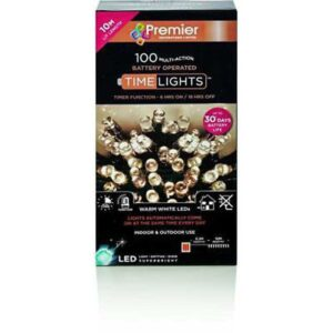Premier 100 Multi-Action Battery Operated Warm White LED Lights With Timer