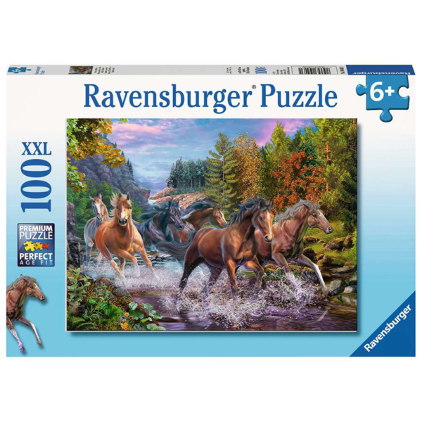 Ravensburger Puzzle Rushing River Horses XXL 100 pieces