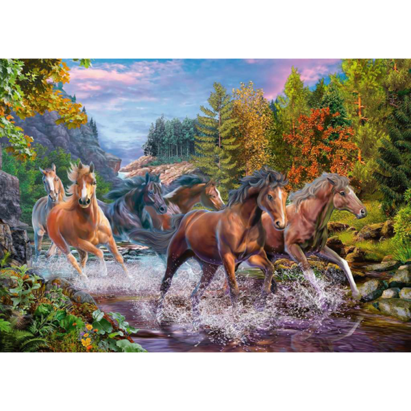 Detail of Ravensburger Puzzle Rushing River Horses XXL 100 pieces