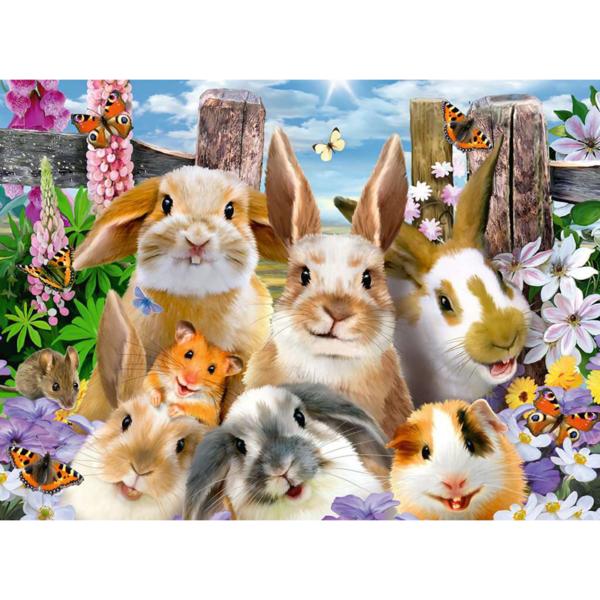 Detail of Ravensburger Puzzle Rabbit Selfie 100 pieces