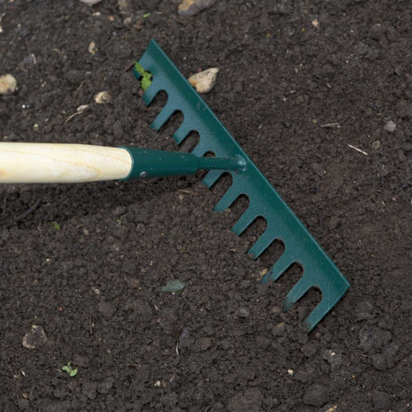 Using the Wilkinson Sword Carbon Steel Garden Rake #1111206WR (Close up)
