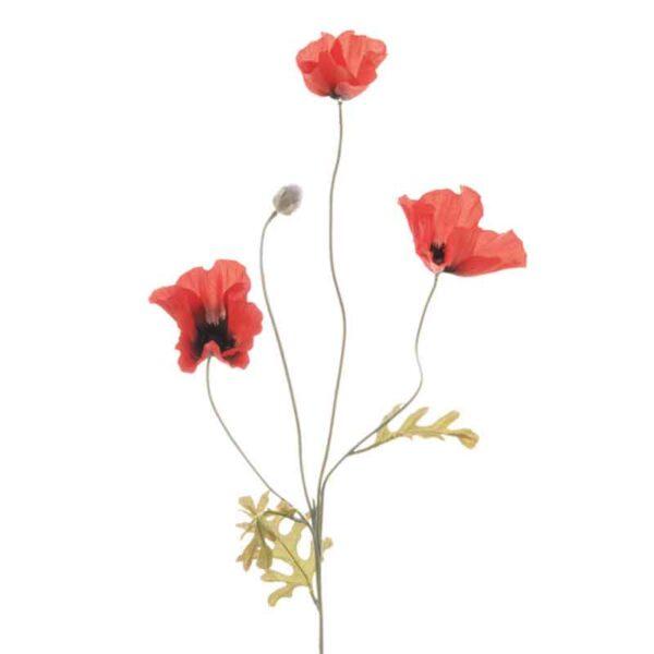 Floralsilk Red Field Poppy - 3 Flowers (64cm)