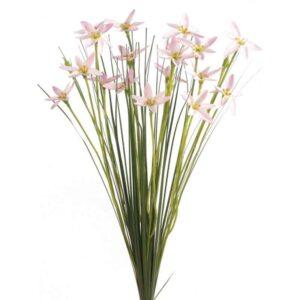 Floralsilk Light Pink Star Flower Spray with Grass (45cm)