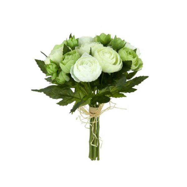 Floralsilk Cream & Green Ranunculus Bundle Mix (22cm)
