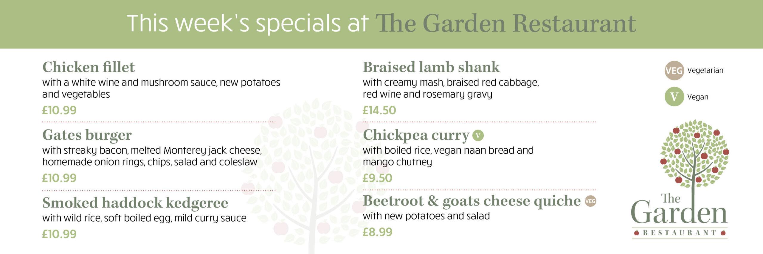 The Garden Restaurant Specials
