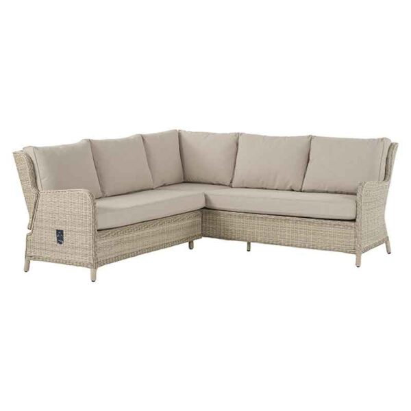 2 Piece Reclining Square Modular Sofa in Sandstone with season-proof Herringbone Barley cushions