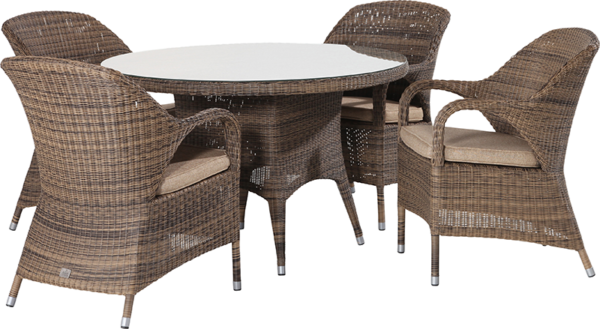 4 Seasons Outdoor Sussex 4 Seater Garden Dining Set with Parasol & Base