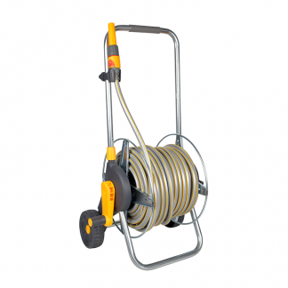 Hozelock Premium Assembled Metal Cart 50m with hose, nozzle & fittings