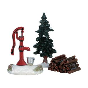 Lemax Water Pump, Tree & Firewood - Set of 3 Pieces