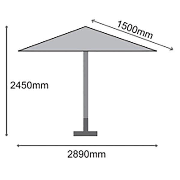 Dimensions for 3m Sturdi Plus Aluminium Round Crank and Tilt Parasol