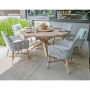 4 Seasons Outdoor 6 Seat Lisboa Dining Set in Polyloom Ice with Louvre Table & Lazy Susan