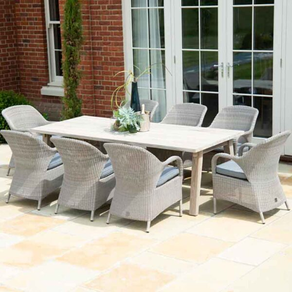 4 Seasons Outdoor - 8 Seat Dining Set Derby Table & Sussex Armchairs with grey olefin cushions