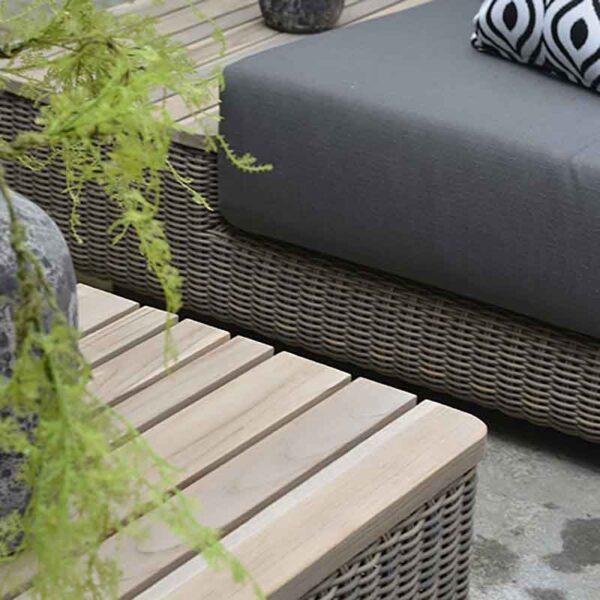4 Seasons Outdoor Kingston – Corner Lounge Set in Pure & Grey Olefin close up