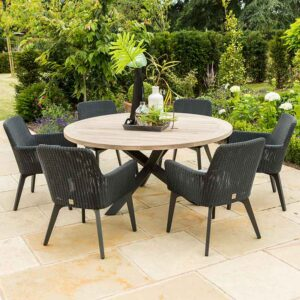 4 Seasons Outdoor Lisboa 6 Seat Round Dining Set in Polyloom Anthracite with Louvre Table