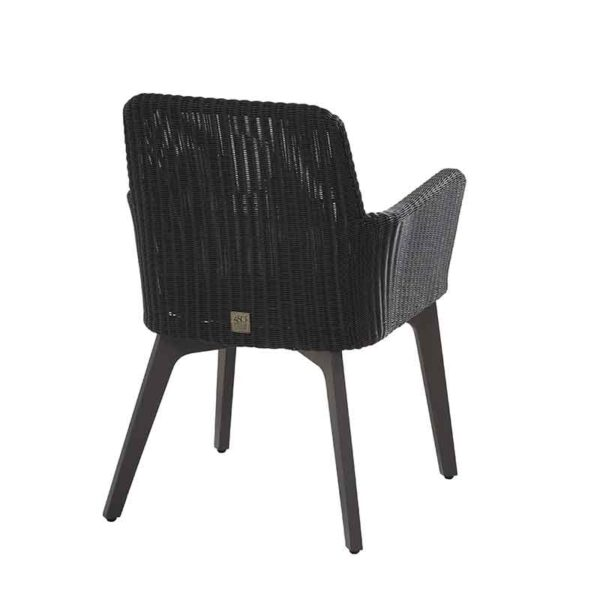 4 Seasons Outdoor Lisboa Dining Chair in Polyloom Anthracite (Back)