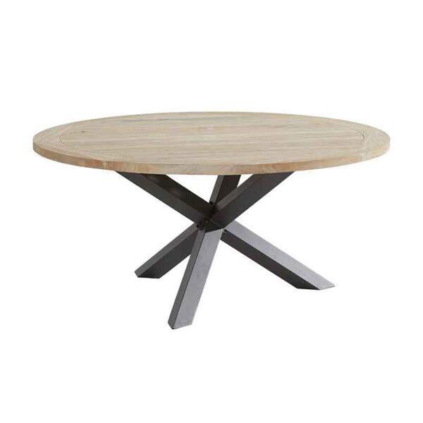 4 Seasons Outdoor Louvre Round Dining Teak Table with Anthracite Legs