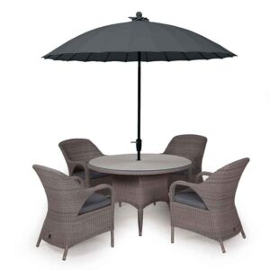 4 Seasons Outdoor – Sussex 4 Seat Dining Set in Polyloom Pebble with Shanghai Charcoal Parasol & Base