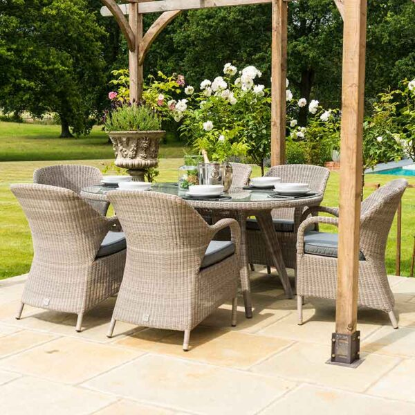 4 Seasons Outdoor Sussex 6 Seat Dining Set in Polyloom Pebble with Shanghai Charcoal Parasol Base