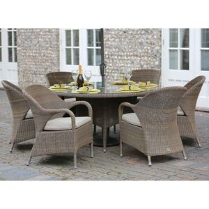 4 Seasons Outdoor Sussex 6 Seat Round Dining Set in Polyloom Taupe with Parasol & Base