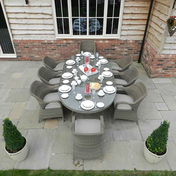 4 Seasons Outdoor Sussex 8 Seat Oval Dining Set in Polyloom Taupe with Parasol & Base