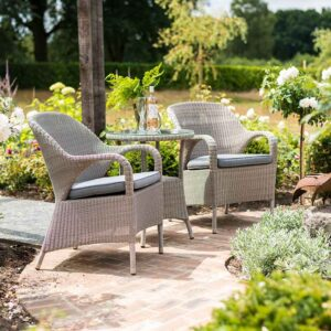 4 Seasons Outdoor - Sussex Bistro Set in Polyloom Pebble