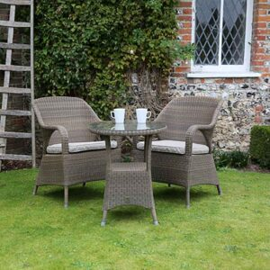 4 Seasons Outdoor Sussex Bistro Set in Polyloom Taupe