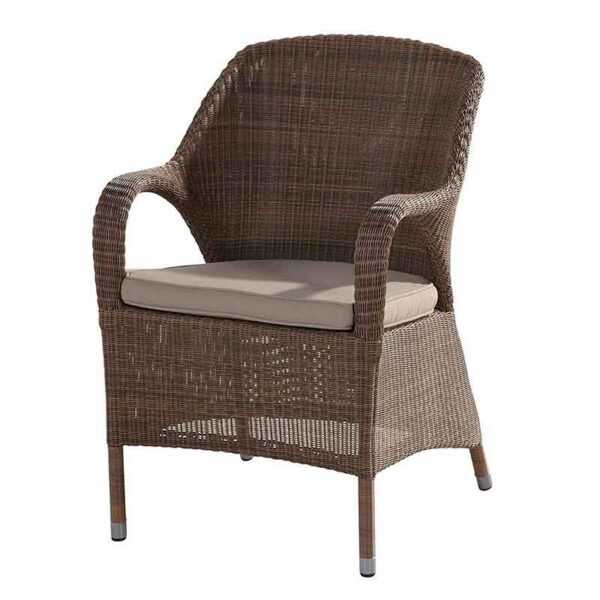 4 Seasons Outdoor Sussex Dining Chair in Polyloom Taupe