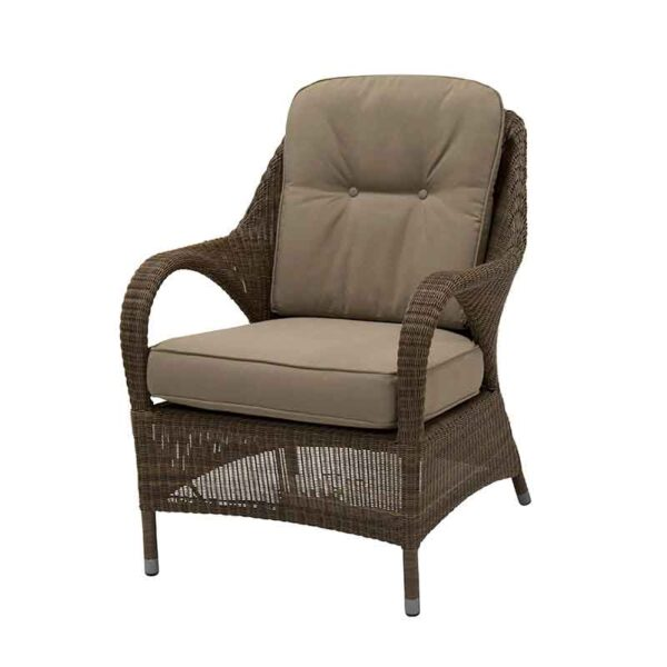 4 Seasons Outdoor Sussex Living Chair in Polyloom Taupe and seat cushions