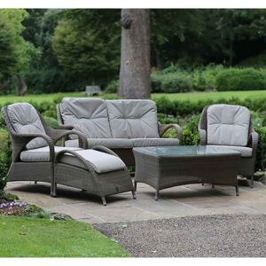 4 Seasons Outdoor Sussex Lounge Suite in Polyloom Taupe with Footstool